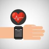 Slim het harttarief van de horloge medische dienst stock illustratie