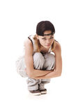 Slim hip hop girl sitting on the floor Stock Image