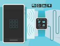 Slim horloge op een bedrijfsmensenpols met slimme telefoon Stock Illustratie