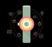 Slim horloge of wearable op handapparaat met geplaatste eigenschappictogrammen Stock Afbeelding