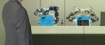 Slim hotel in de gastvrijheidsindustrie 4 concept 0, de de robotmedewerker van de receptionnistrobot in hal van hotel of luchthav royalty-vrije stock foto