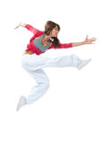 Slim hstyle woman dancer jumping dancing Stock Photos