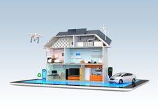 Slim huis met energie efficiënte toestellen Royalty-vrije Stock Afbeeldingen