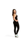 Slim isolated woman, weight-loss, good shape Stock Photography