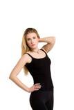 Slim isolerade kvinnan, vikt-förlust, bra form Fotografering för Bildbyråer