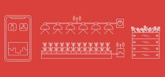 Slim landbouwbedrijf en landbouw Nieuwe technologieën vector illustratie