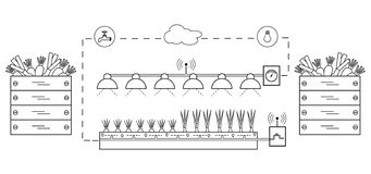 Slim landbouwbedrijf en landbouw Nieuwe technologieën stock illustratie