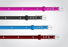 Slim leather belts set Royalty Free Stock Image