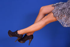 Slim long woman legs Royalty Free Stock Images