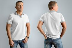 Slim man in the white polo shirt.  Mockup for your graphic desig. Slim man in the white polo shirt and blue jeans  isolated on the gray background, front and Stock Photos