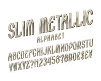 Slim metallic alphabet witn numbers, dollar and euro currency signs, exclamation and question marks.  royalty free illustration