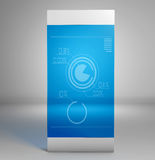 Slim mobile tablet with infographics on the screen Stock Photos