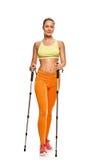 Slim Nordic walking woman Stock Photos