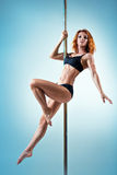 Slim pole dance woman Stock Photos