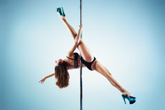 Slim pole dance woman Royalty Free Stock Photography