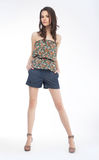Slim pretty girl fashion model on podium Royalty Free Stock Images