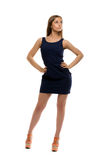 Slim pretty girl in a short dress Royalty Free Stock Image
