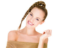Slim Pretty White Woman in Braided Hair Style Royalty Free Stock Photography