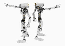 Slim Robot, 2 Directions. Slim 3d robotic figures, over white, isolated Royalty Free Stock Images