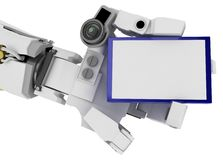 Slim Robot Arm, Blue Sign Stock Images