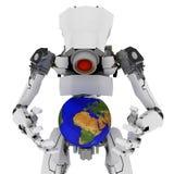 Slim Robot, Globe. Slim 3d robotic figure, over white, isolated Stock Images