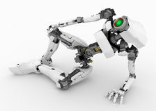 Slim Robot, Half-Lying Stock Image