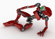 Slim Robot, Red, Half-Lying Royalty Free Stock Photo
