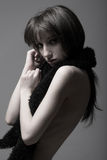 Slim brunette royalty free stock photos