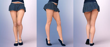 Slim sexy girl's legs in summer skirt. Royalty Free Stock Images