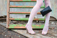 Slim glamour legs on the heels Royalty Free Stock Image