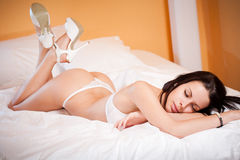 Slim sexy lingerie woman. Royalty Free Stock Photo