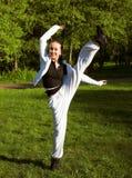 Slim shaped beautiful girl jumping Stock Photo