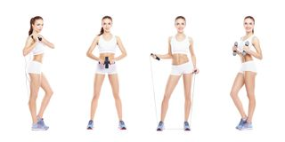 Slim and slender girl in a sport concept. Sport, fitness, weight loss, body care and workout collection. stock images