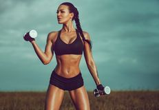 Slim sports woman stock photo