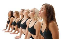Slim sportswomen in tops exercising studio shot Stock Image