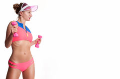 Slim and sporty female body, diet concept royalty free stock images