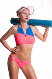 Slim and sporty female body, diet concept stock images