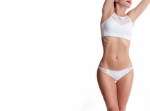 Slim and sporty female body, successful weight loss Stock Photos