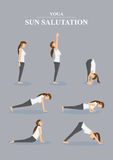 Slim Sporty Woman in Yoga Poses Sun Salutation Series. Collection of all asanas in Surya Namaskara. Vector illustration of female character in profile view  on Royalty Free Stock Photos