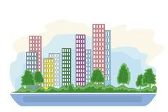 Slim stads grafisch ontwerp, vectorillustratie Stock Fotografie