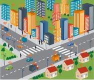Slim stadsconcept en Draadloos netwerk van voertuig vector illustratie