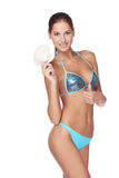 Slim tanned woman in blue bikini Royalty Free Stock Images