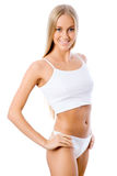 Slim tanned woman's figure. Stock Photo