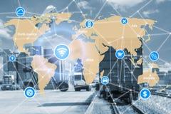Slim technologieconcept met globaal logistiekvennootschap voor L stock foto