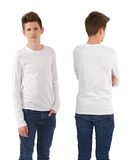 Slim teenager with blank white shirt Royalty Free Stock Photos