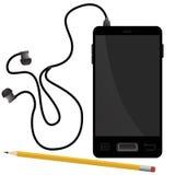 Slim telefoon en potlood Royalty-vrije Stock Afbeeldingen