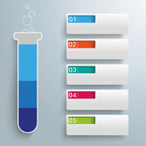 Slim Test Tube 5 Banner Tabs. Infographic with lab tube and banners on the gray background Stock Photos