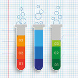 3 Slim Test Tubes Checked Paper. Infographic with lab tubes on the checked paper background Royalty Free Stock Photo