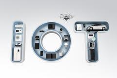 Slim toestel in woord IoT Stock Afbeelding
