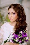 Slim trendy, luxurious, fashion woman in  lux vintage interior w Royalty Free Stock Photo